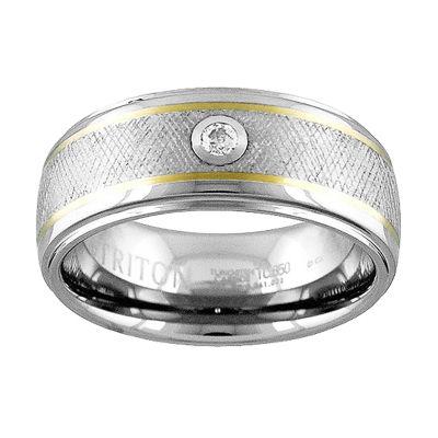 Unisex Diamond Accent White Diamond 14K Gold Tungsten Wedding Band
