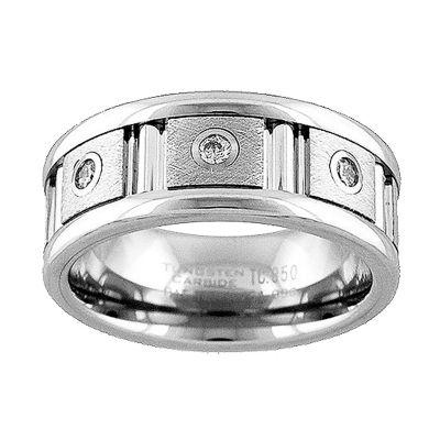 Unisex 9M 1/7 CT. T.W. Genuine White Diamond Tungsten Round Wedding Band