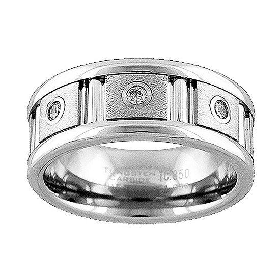 Unisex Adult 9M 1/7 CT. T.W. Genuine White Diamond Tungsten Round Wedding Band