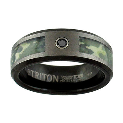 Unisex 8mm Diamond Accent Black Diamond Tungsten Round Wedding Band