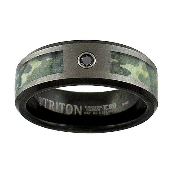 Unisex 8mm Diamond Accent Black Diamond Tungsten Round Wedding Band