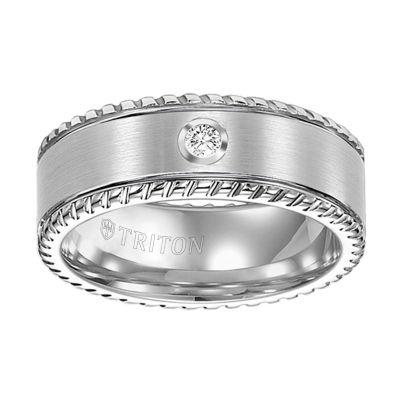 Unisex 1/10 CT. T.W. White Diamond Tungsten Wedding Band
