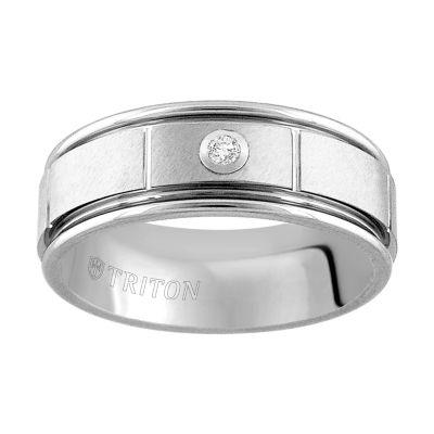 Unisex 8mm Diamond Accent Genuine White Diamond Tungsten Round Wedding Band