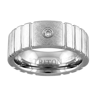 Unisex Diamond Accent Genuine White Diamond Tungsten Wedding Band
