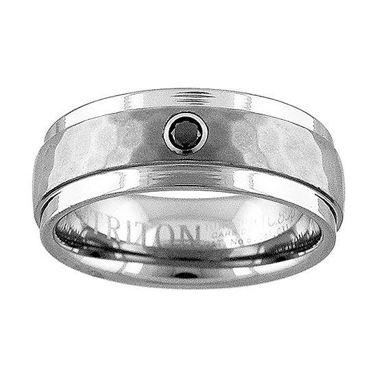 Unisex 8MM Diamond Accent Genuine Black Diamond Tungsten Round Wedding Band