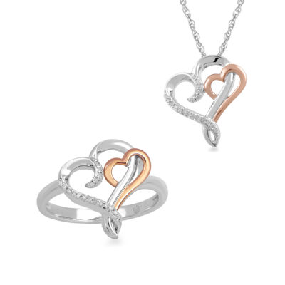 Hallmark Diamonds 2-pc. 1/10 CT. T.W. Diamond Sterling Silver & 14K Rose Gold over Silver Jewelry Set