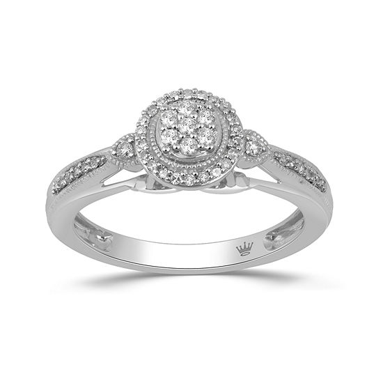 Hallmark Diamonds Womens 1 5 Ct Tw Genuine White Diamond Sterling Silver Cocktail Ring