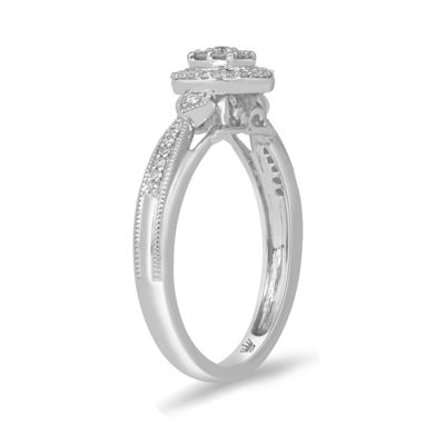 Hallmark Diamonds Womens 1/5 CT. T.W. Genuine White Diamond Sterling Silver Cocktail Ring
