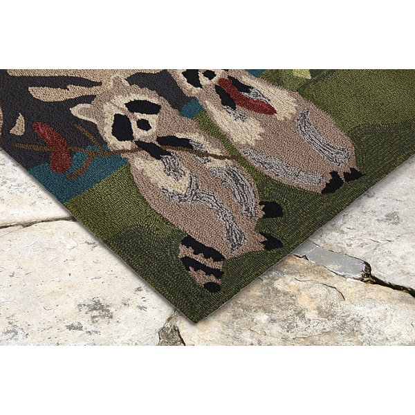 Liora Manne Frontporch Camping Racoons Indoor/Outdoor Rug