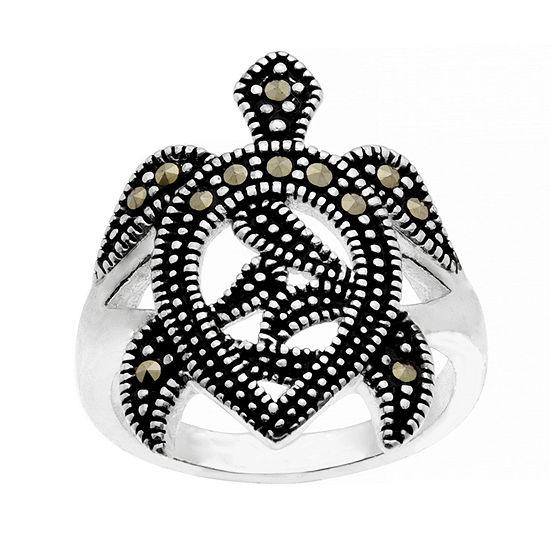 Sparkle Allure Marcasite Pure Silver Over Brass