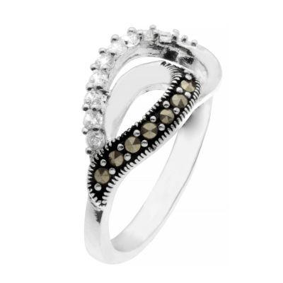 Sparkle Allure Womens Genuine Marcasite Cocktail Ring