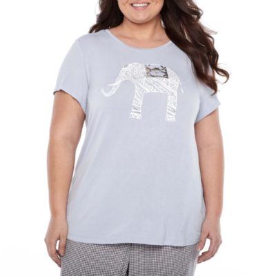 Ambrielle Short Sleeve Graphic Pajama Top-Plus