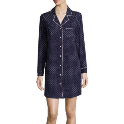 Liz Claiborne Knit Long Sleeve Pin Dot Nightshirt