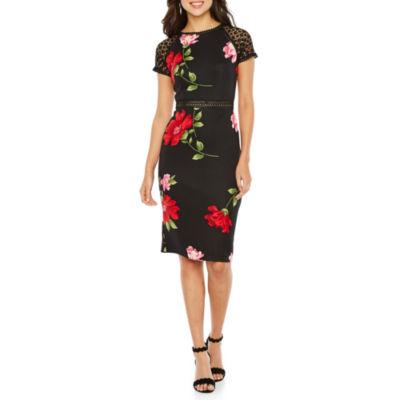 Bisou Bisou Short Sleeve Floral Sheath Dress