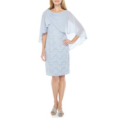 Scarlett Sleeveless Lace Cape Sheath Dress