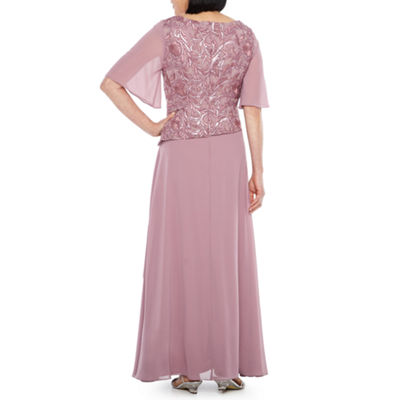 Maya Brooke Short Flutter Sleeve Embroidered Gown