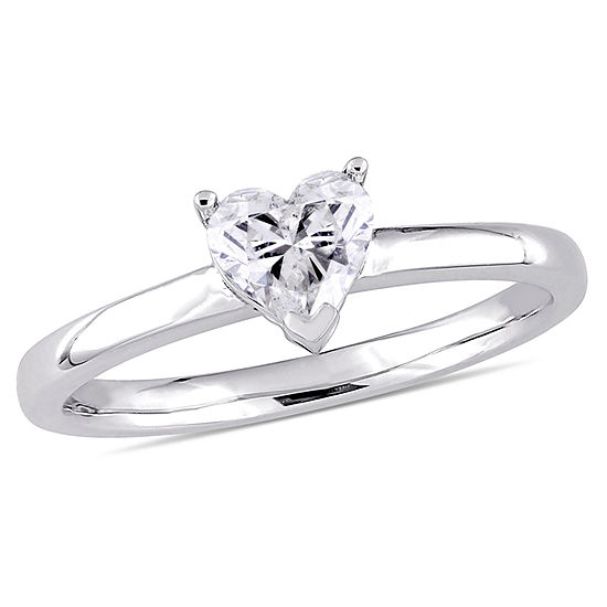 Womens 1/2 CT. T.W. Genuine White Diamond 14K Gold Heart Solitaire Engagement Ring