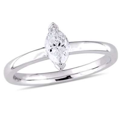 Womens 1/2 CT. T.W. Genuine White Diamond 14K Gold Solitaire Ring