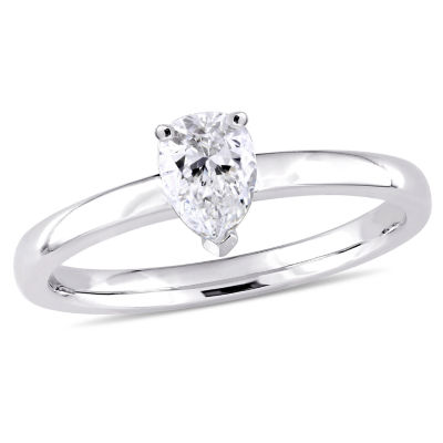 Womens 1/2 CT. T.W. Genuine White Diamond 14K Gold Pear Solitaire Ring
