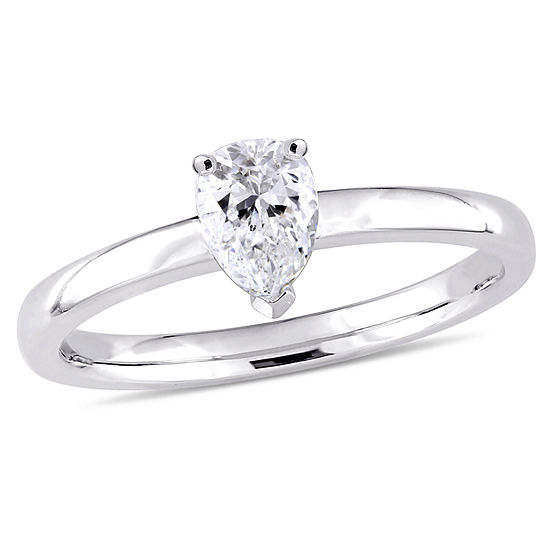 Womens 1/2 CT. T.W. Genuine White Diamond 14K Gold Pear Solitaire Engagement Ring