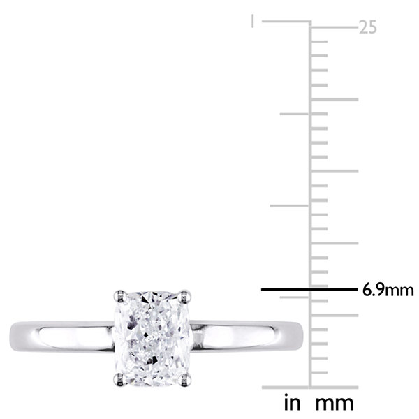 Womens 1 CT. T.W. Genuine Cushion White Diamond 14K Gold Solitaire Ring