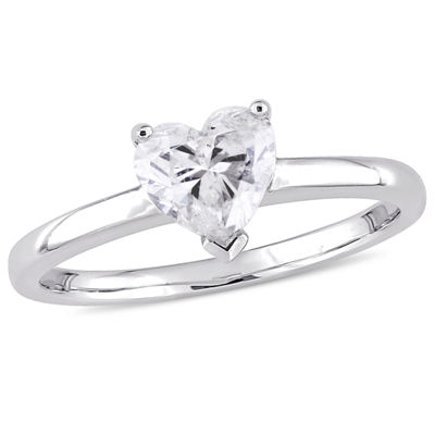 Womens 1 CT. T.W. Heart White Diamond 14K Gold Solitaire Ring