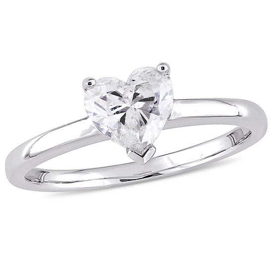 Womens 1 CT. T.W. Genuine White Diamond 14K Gold Heart Solitaire Engagement Ring