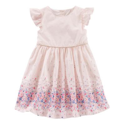 Oshkosh Short Sleeve Floral Poplin  Dress - Toddler Girls