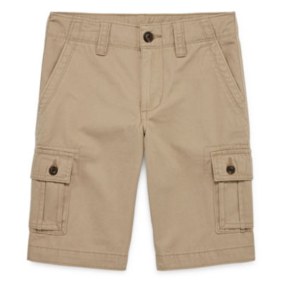 Arizona Solid Cargo Cotton Shorts Boys 4-20, Slim & Husky