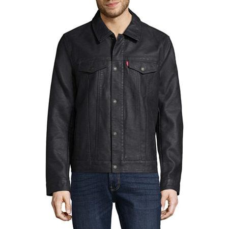 Levi's Men's Faux Leather Trucker Jacket, Small , Blue