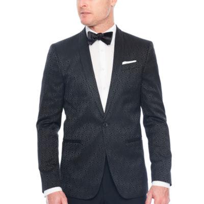 JF J.Ferrar Floral Jacquard Slim Fit Tuxedo Jacket