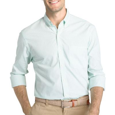 IZOD Long Sleeve Premium Essential Stripe Button-Front Shirt
