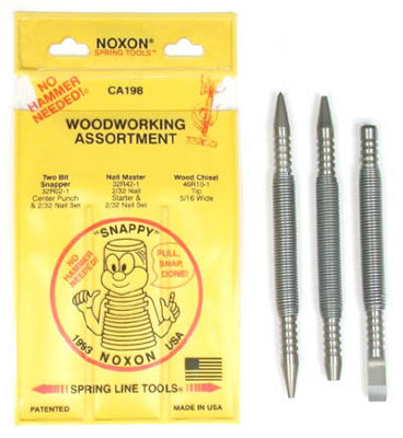 Spring Tools CA198 3 Pc Center Punch  Nail Set and Wood Chisel Woodworking Assortment