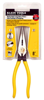 "Klein Tools D203-8N 8"" Heavy-Duty Long-Nose Side Cut & Wire Stripping Pliers"