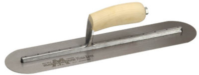 "Marshalltown MXS81FR 4"" X 18"" Round-End Finishing Trowel With Curved Wood Handle"