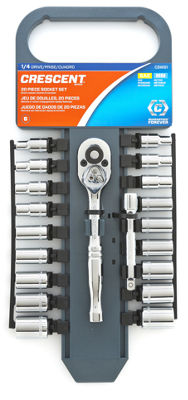 "Crescent CSWS1 1/4"" Drive 6 Point SAE/Metric Socket Wrench 20 Piece Set"""
