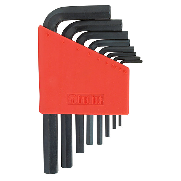 Great Neck HK9MS Metric Short Arm Hex Key Set 9 Piece