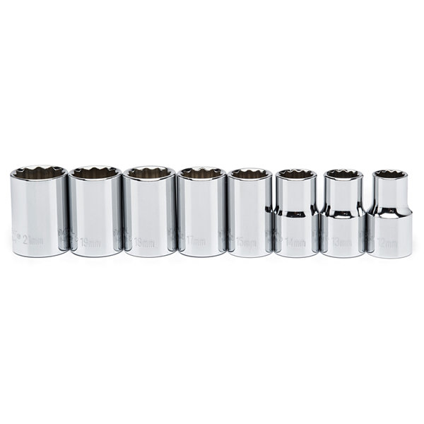 Crescent CSAS1 1/2IN Drive SAE Impact Socket 8 Piece Set