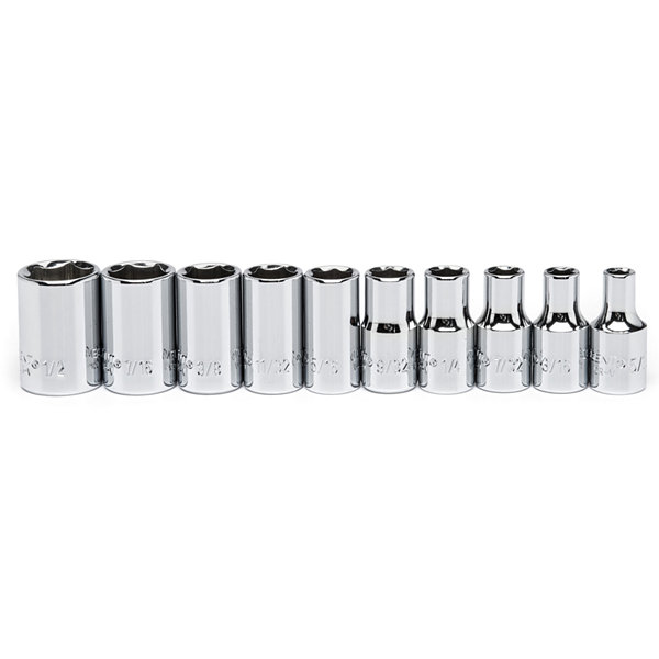 Crescent CSAS8 1/4IN Drive 6 Point SAE 10 Piece Socket Set