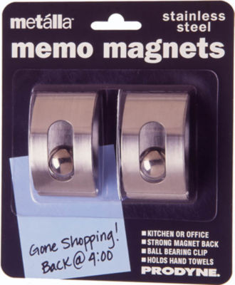Prodyne M-22 Stainless Steel Magnetic Memo Clips 2 Count