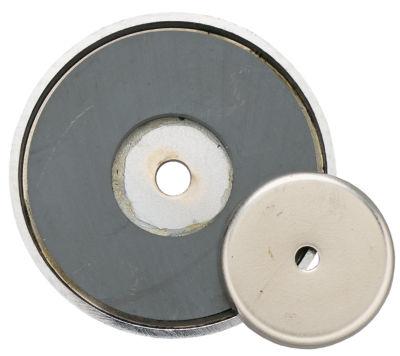 """General 376A 12 Lb Pull 1-3/8"""" Diameter Shallow Pot Ceramic Magnet"""