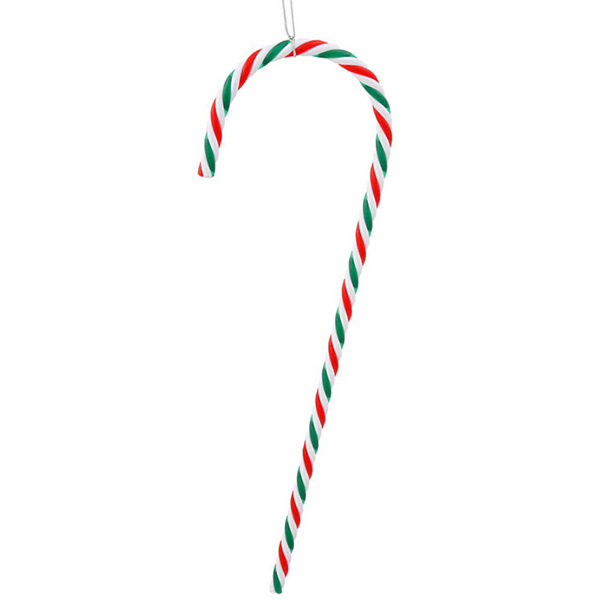 Pack of 2 Red  Green and White Striped Candy Cane Christmas Ornaments 18""