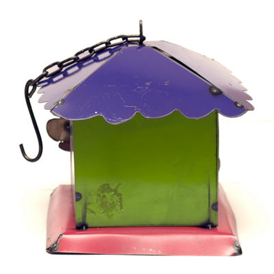 Rustic Arrow Hanging Square Birdhouse With Bird Entrance Figurine