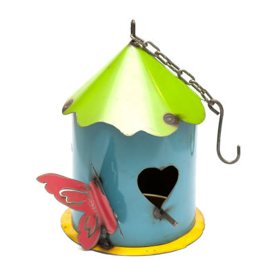 Rustic Arrow Hanging Cylinder Birdhouse With HeartEntrance Figurine