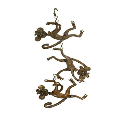 Rustic Arrow String Of Hanging Monkeys Figurine