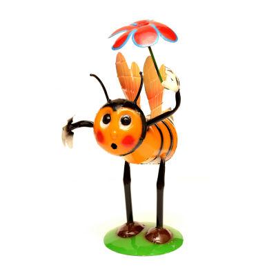 Rustic Arrow Bee With Flower Figurine