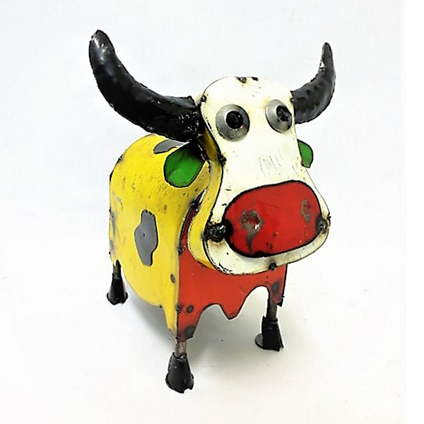 Rustic Arrow Cow Colorful Mini Figurine