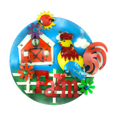 Rustic Arrow Farm With Barn House & Rooster Figurine