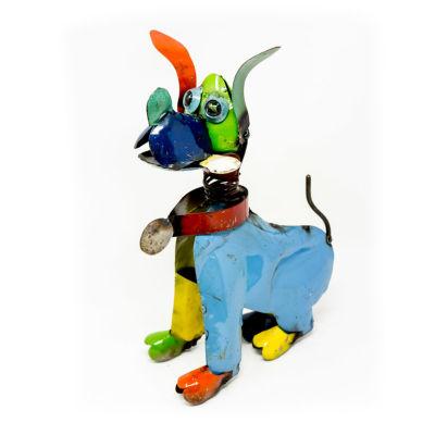 Rustic Arrow Dog With Bone Figurine
