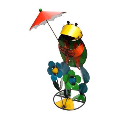 Rustic Arrow Frog With Umbrella Figurine